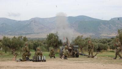 Άσκηση στο πεδίο βολής Ξάνθης - Βολές Πυροβολικού