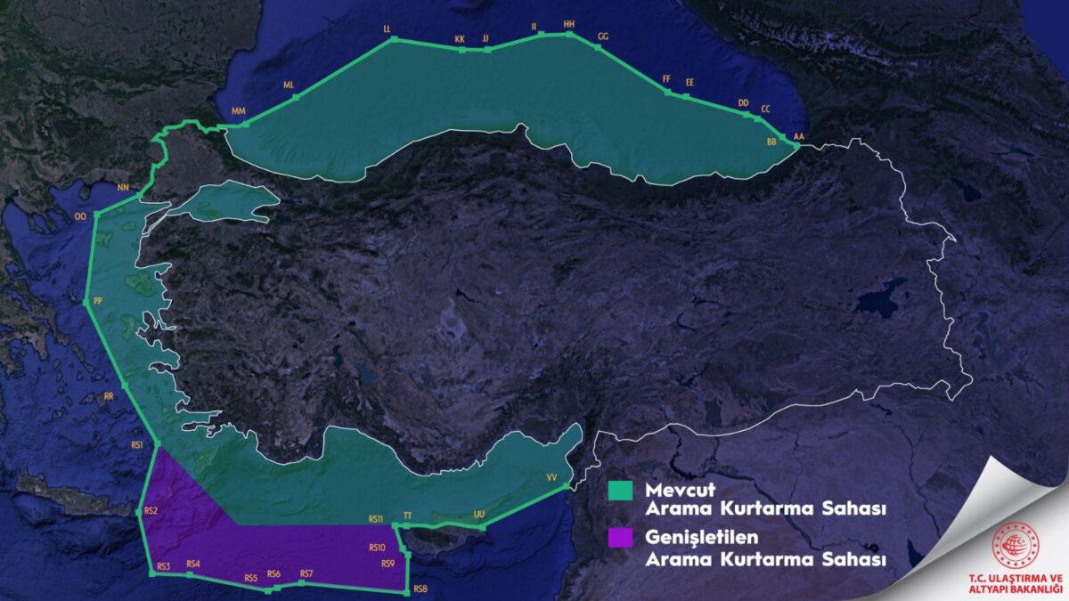 Χάρτης Περιοχής Ευθύνης «Έρευνας και Διάσωσης» (σύμφωνα με την τουρκική Κυβέρνηση) - Δημοσιεύτηκε στο TWITTER στις 18/10/2020 από τον Υπουργό Μεταφορών της Τουρκίας