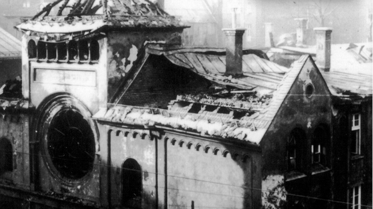 ΝΑΖΙ - Γερμανία - Η παλιά Συναγωγή στο Μόναχο, στην οδό Herzog Rudolfstrasse μετά τη «Νύχτα των Κρυστάλλων»