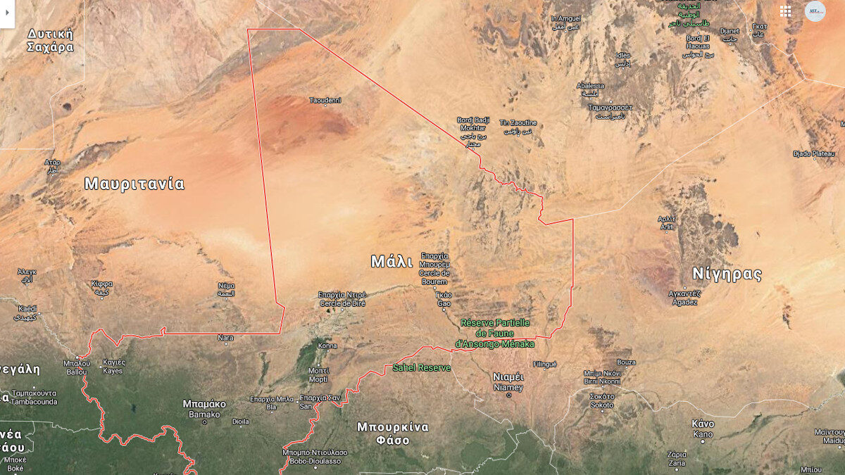 Χάρτης Σάχελ - Στο kέντρο το Μάλι