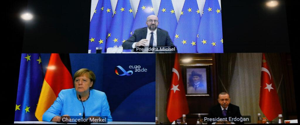 Τηλεδιάσκεψη ανάμεσα στον Πρόεδρο του Ευρωπαϊκού Συμβουλίου Σ. Μισέλ, της καγκελάριου της Γερμανίας Α. Μέρκελ και του προέδρου της Τουρκίας Ρ.Τ Ερντογάν