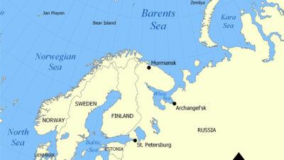 Χάρτης της Περιοχής της Θάλασσας του Μπάρεντς στον Αρκτικό Κύκλο