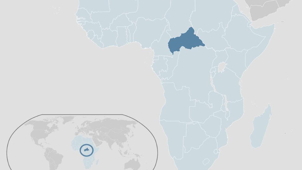 Χάρτης που απεικονίζει τη θέση της Κεντροαφρικανικής Δημοκρατίας στην Αφρική και τον πλανήτη