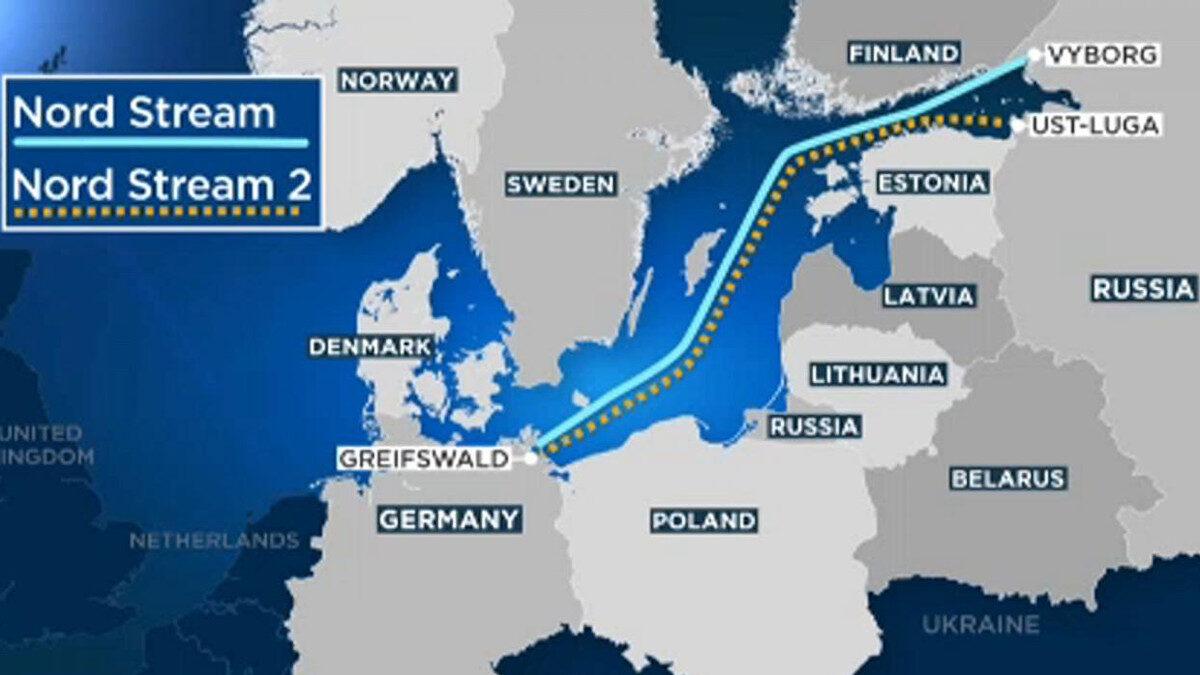 Χάρτης με τους παράλληλους αγωγούς Nord Stream και Nord Stream 2 μεταφοράς φυσικού αερίου απευθείας από Ρωσία σε Γερμανία