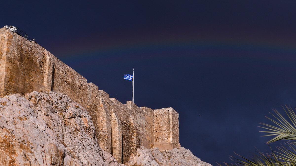 Ουράνιο τόξο - Ακρόπολη - Αθήνα - Σύννεφα