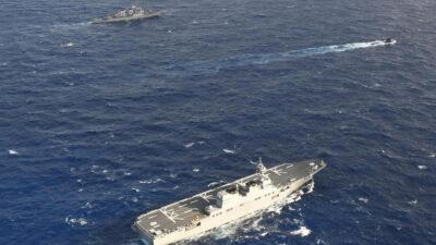 Αντιτορπιλικό ΗΠΑ - Ιαπωνικό Ελικοπτεροφόρο - Γαλλικό Υποβρύχιο - Συνεκπαίδευση Γαλλικού Πολεμικού Ναυτικού με Ιαπωνικό και Πολεμικό Ναυτικό ΗΠΑ (7ος Στόλος) στη Θάλασσα Φιλιππίνων στον Ειρηνικό Ωκεανό - Δεκέμβρης 2020