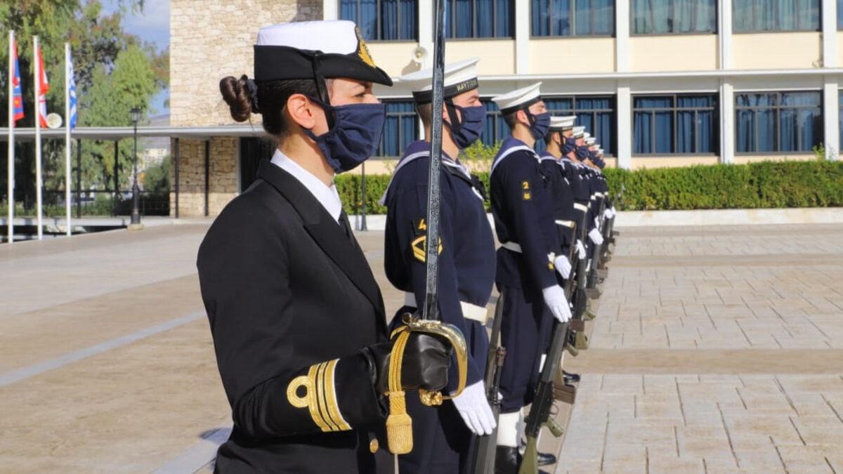 Δόκιμοι αξιωματικοί του Πολεμικού Ναυτικού σε τελετή για τον Άγιο Νικόλαο στη Σχολή Ναυτικών Δοκίμων στον Πειραιά - 2020
