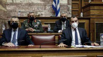 Υπουργός και Υφυπουργός Άμυνας της ΝΔ στην Επιτροπή της Βουλής για τα Εξοπλιστικά - Δεκέμβρης 2020