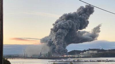 Πυρκαγιά στο λιμάνι του Κορκ στην Ιρλανδία