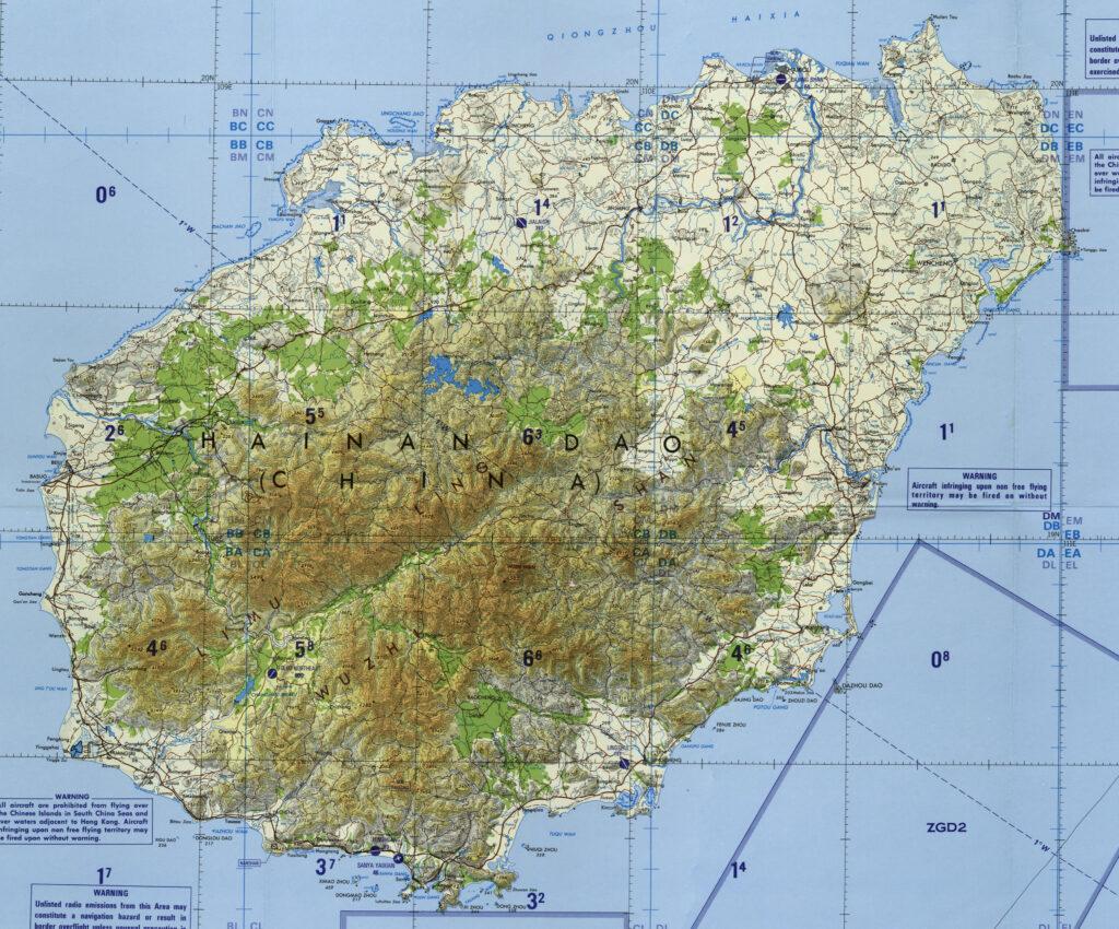 Χάρτης του τροπικού νησιού Χαϊνάν, Κίνα - Νότια Κινεζική Θάλασσα