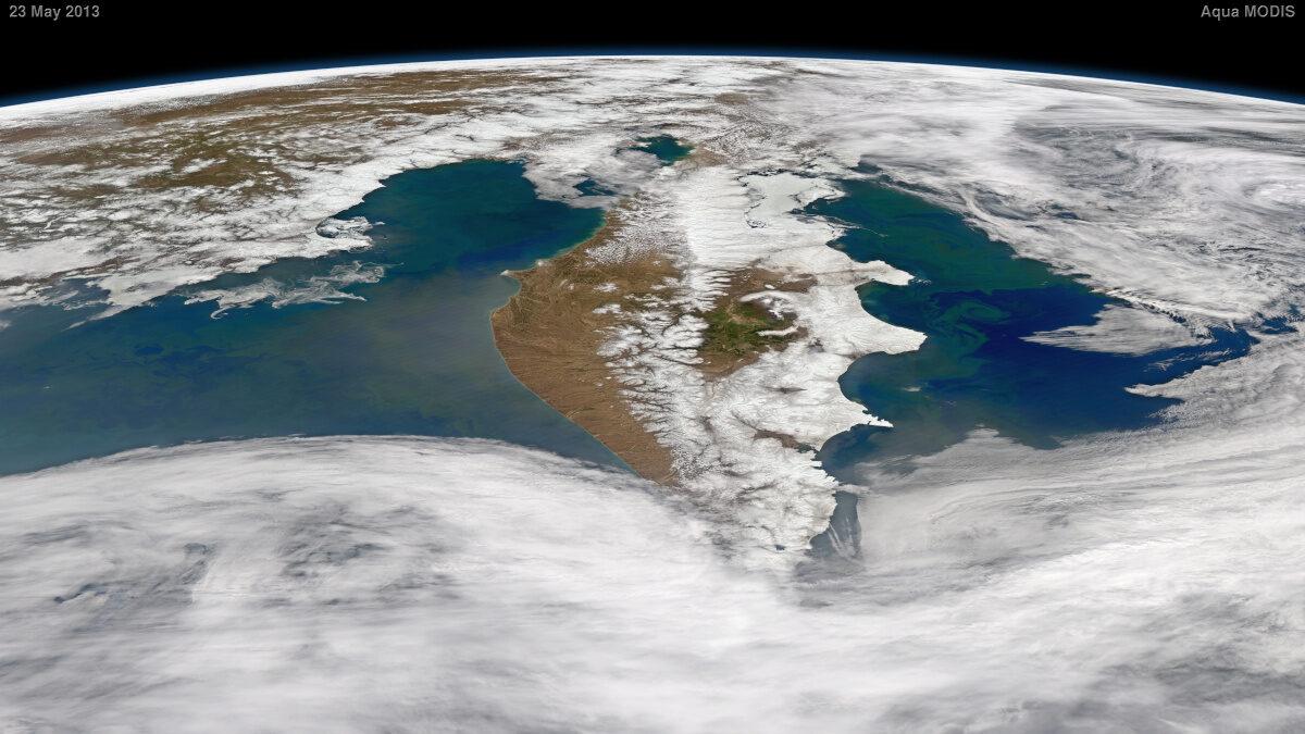 Η Ρωσική χερσόνησος Καμτσάτκα στο Ειρηνικό Ωκεανό