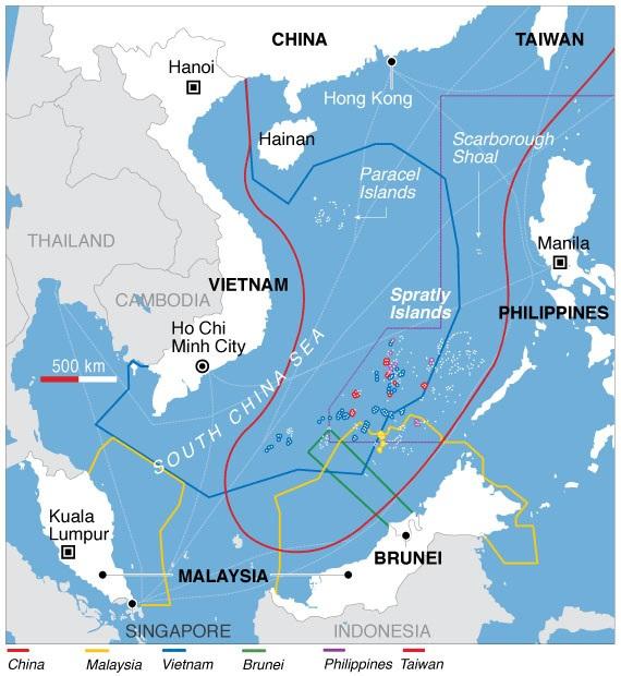 Χάρτης που απεικονίζει τις διεκδικήσεις της Κίνας, της Μαλαισίας, του Βιετνάμ, του Μπρουνέυ, των Φιλιππίνων και της Ταϊβάν στη Νότια Κινεζική Θάλασσα