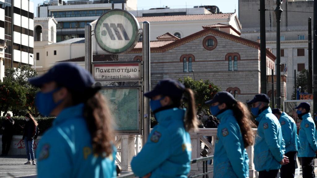 """Αστυνομική Δύναμη ΟΔΟΣ στο σταθμό του Μετρό """"Πανεπιστήμιο"""""""