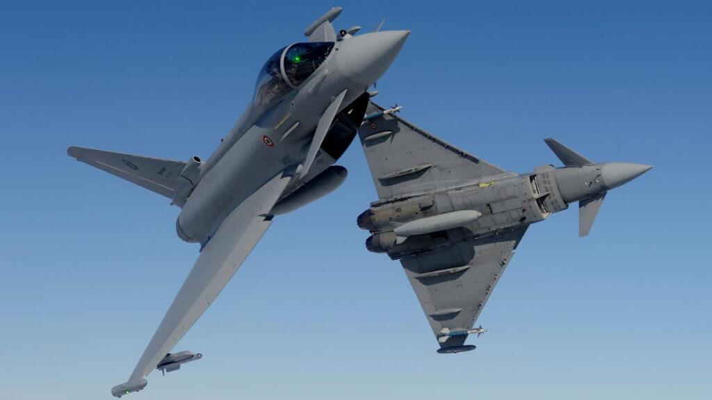 Το μαχητικό αεροπλάνο Eurofighter Typhoon κατασκευής του κονσόρτσιουμ της Airbus, BAE και Leonardo