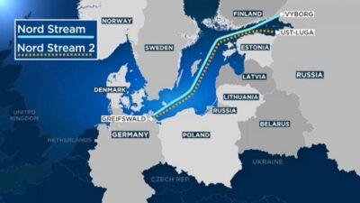 Χάρτης που απεικονίζει την πορεία των αγωγών Nord Stream και Nord Stream 2 που ενώνει απευθείας Ρωσία με Γερμανία μέσω Βαλτικής Θάλασσα