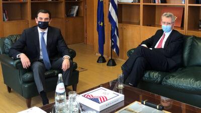 Συνάντηση Υπουργού Ενέργειας Κ. Σρέκα με το Πρέσβη των ΗΠΑ στην Ελλάδα Τζ Πάιατ - 14-1-2021
