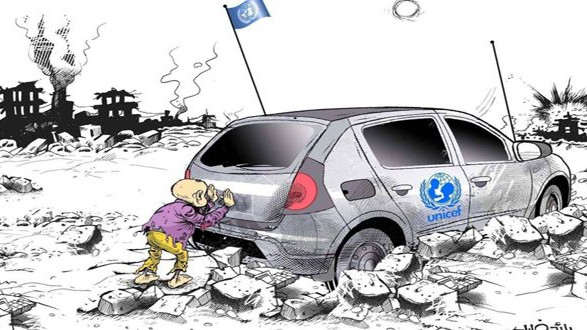 """Σκίτσο με το οποίο ο Σύριος γελοιογράφος Ραίντ Χαλίλ κέρδισε το βραβείο στην 24η έκδοση του διεθνούς διαγωνισμού «Φαξ για την Ειρήνη» (""""FAX for PEACE"""") στην Ιταλία - Γενάρης 2020"""