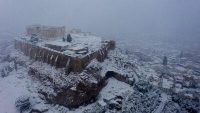 Χιόνια στην Αθήνα - Ακρόπολη