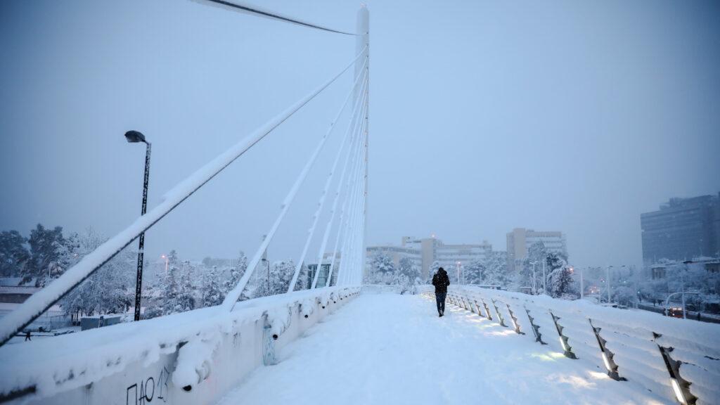 Χιονισμένη Αθήνα - 16 Φλεβάρη 2021 Λ. Μεσογείων