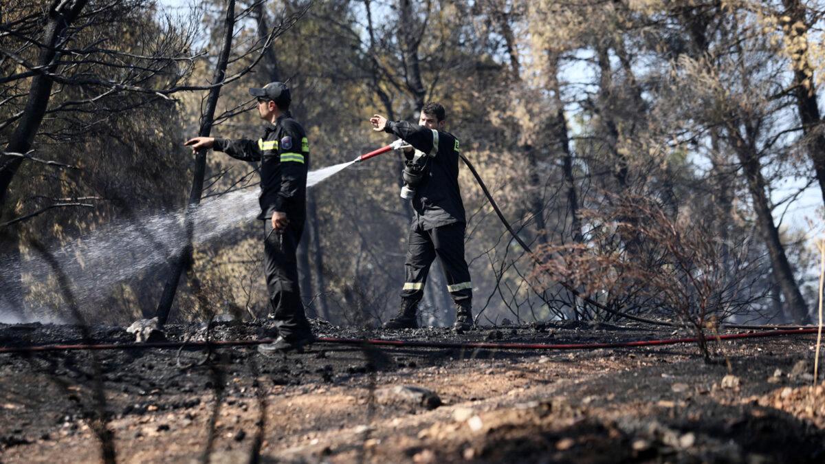 Πυροσβέστες σε κατάσβεση Πυρκαγιάς σε δασώδη περιοχή στη Ραφήνα