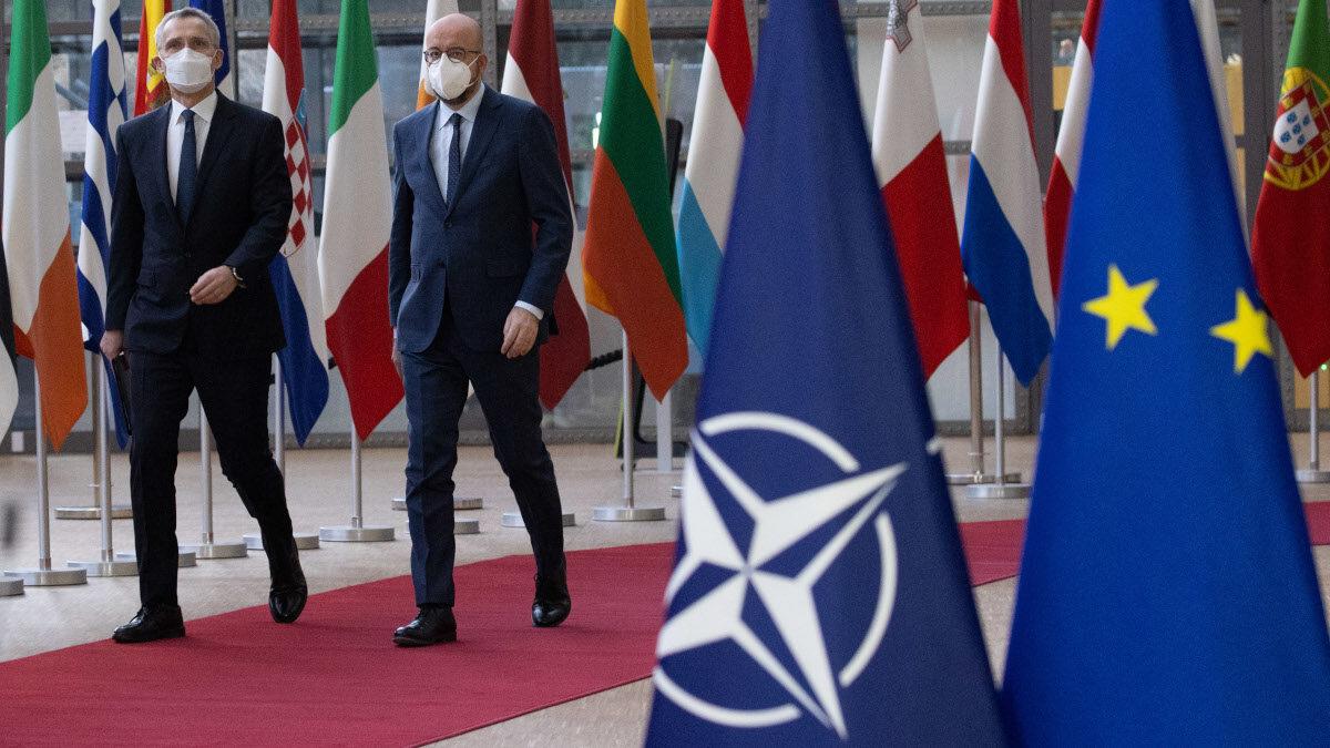 Τηλεδιάσκεψη των μελών του Ευρωπαϊκού Συμβουλίου, παρουσία του ΓΓ του ΝΑΤΟ, Στόλτεμπεργκ, την Παρασκευή 26 Φεβρουαρίου 2021.
