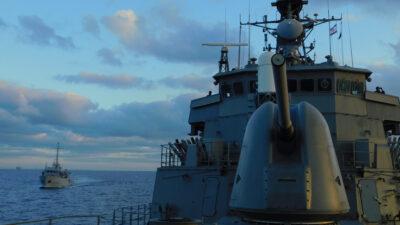 Φρεγάτα Ύδρα σε συνεκπαίδευση με το Πολεμικό Ναυτικό του Ισραήλ έξω από Χάιφα - Μάρτιος 2021