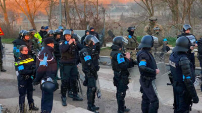 Τμήμα των δυνάμεων καταστολής FRONTEX, της Ευρωπαϊκής Ένωσης στον Έβρο