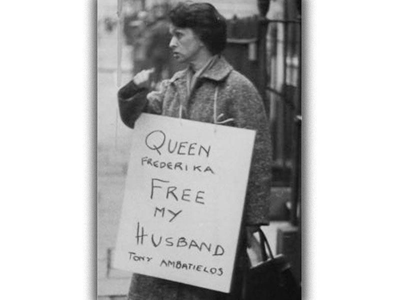 Μετεμφυλιακό κράτος - Φρειδερίκη - Μπέτυ Αμπατιέλου - διαδήλωση στο Λονδίνο, 1963