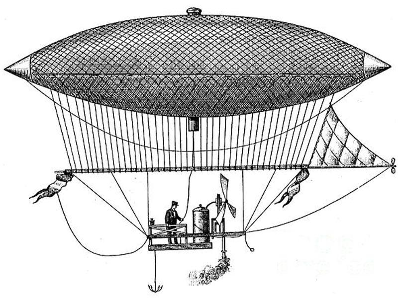 Εφευρέσεις - ατμοκίνητο αερόπλοιο - Ανρί Zιφάρ