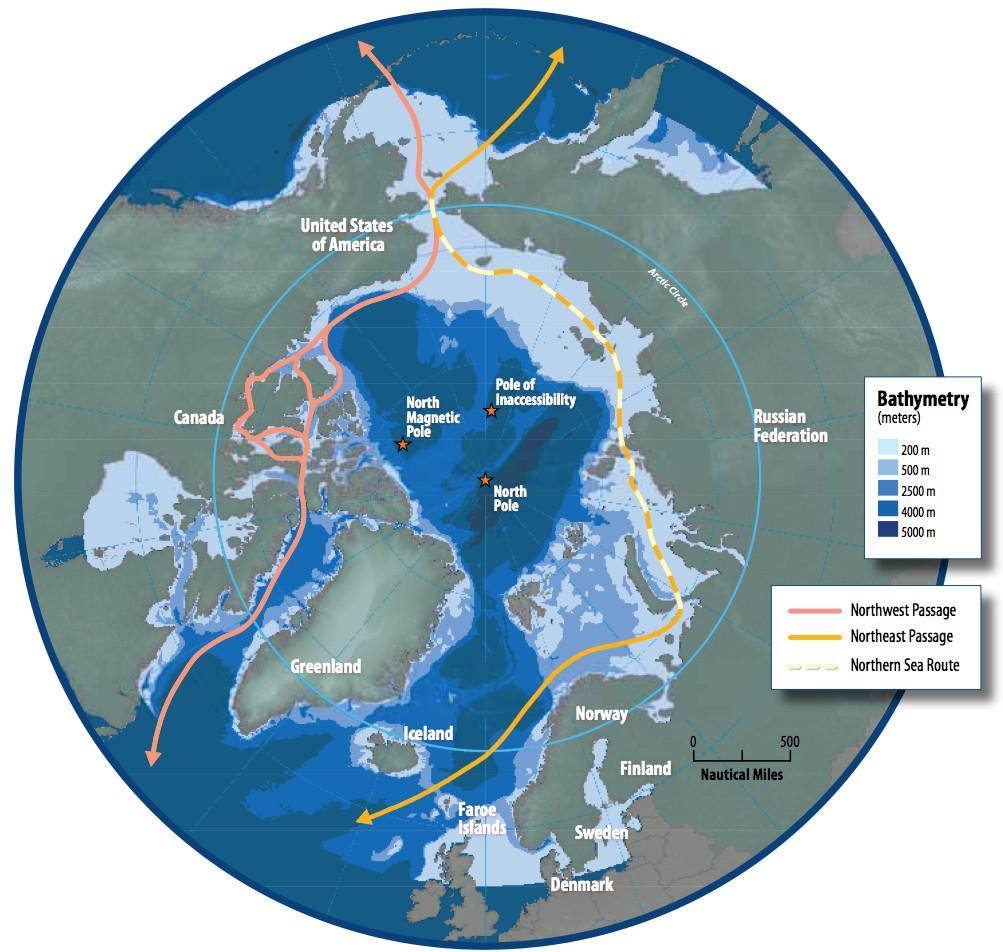 Χάρτης των βόρειων θαλάσσιων περασμάτων από την Αρκτική