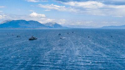 Πολεμικό Ναυτικό - Πάτρα - Ιόνιο Πέλαγος - Αεροφωτογραφία από την άσκηση Ναρκοπολέμου Αριάδνη 21 με τη συμμετοχή της Νατοϊκής αρμάδας SNMCMG2 - Απρίλης 2021