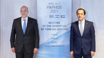 Συνάντηση με τον Κύπριο ομόλογό του Νίκο Χριστοδουλίδη πραγματοποίησε ο υπουργός Εξωτερικών Νίκος Δένδιας