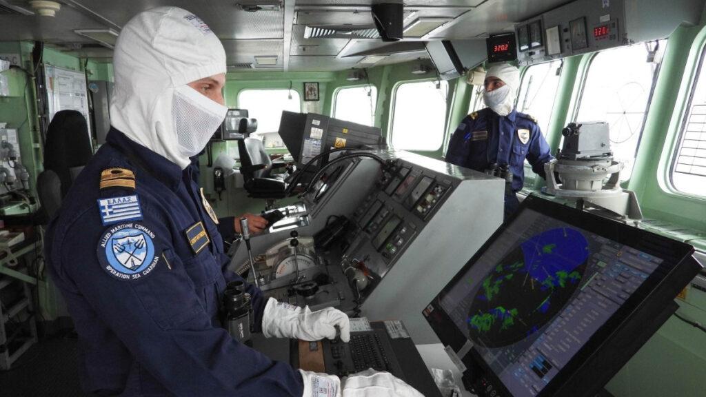 Γέφυρα πλοίου - Η Φρεγάτα Σαλαμίς (F455) στην Κεντρική Μεσόγειο σε ρόλο ΝΑΤΟϊκού χωροφύλακα (Allied Maritime Command - Operation Sea Guardian) Απρίλιος 2021