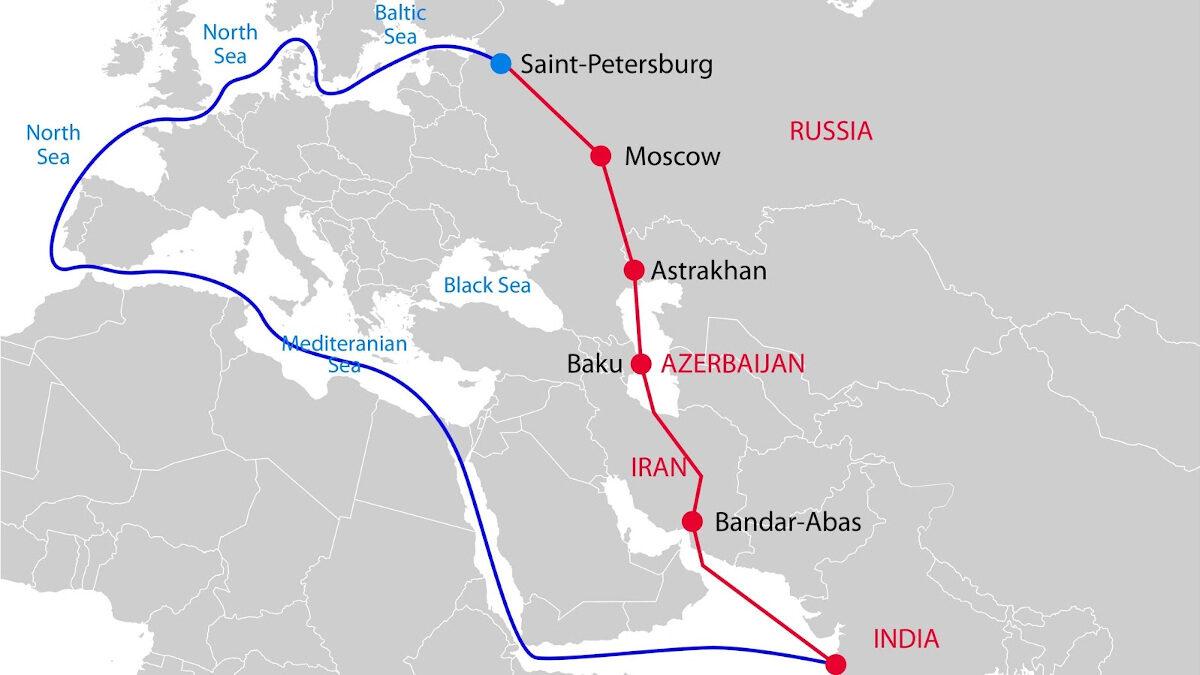 Χάρτης του Διεθνούς Εμπορικού Δρόμου Βορά - Νότου, από Ρωσία ως Ινδία, μέσω Κασπίας, Αζερμπαϊτζά και Ιράν