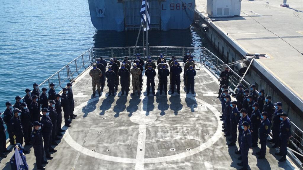 Πολεμικό Ναυτικό - Ευρωπαϊκή Ένωση - Λιβύη - Αλλαγή Διοικητού εν πλω επιχείρησης IRINI στο ελικοδρόμιο της Φρεγάτας Αιγαίο στον Τάραντα Ιταλίας 1/4/2021