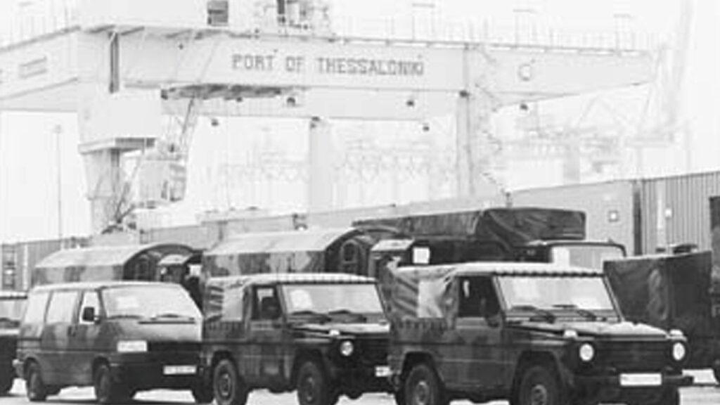 Στρατιωτικό υλικό του ΝΑΤΟ στο λιμάνι της Θεσσαλονίκης με προορισμό το Κοσσυφοπέδιο, 1999