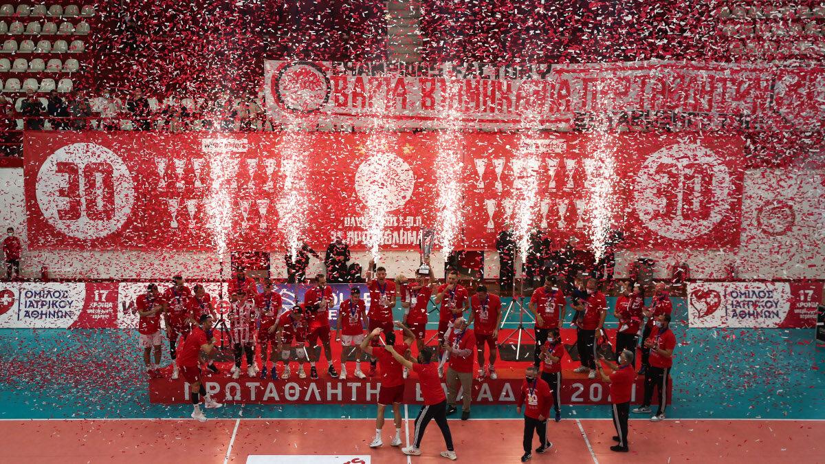 Ο Ολυμπιακός κατακτά το 30ο πρωτάθλημα βόλει στην ιστορία του