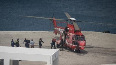 Πυροσβεστική - Μεταφορά ενισχύσεων (ΕΜΑΚ) με ελικόπτερο - Πυρκαγιά στην Άνδρο - 4/4/2021