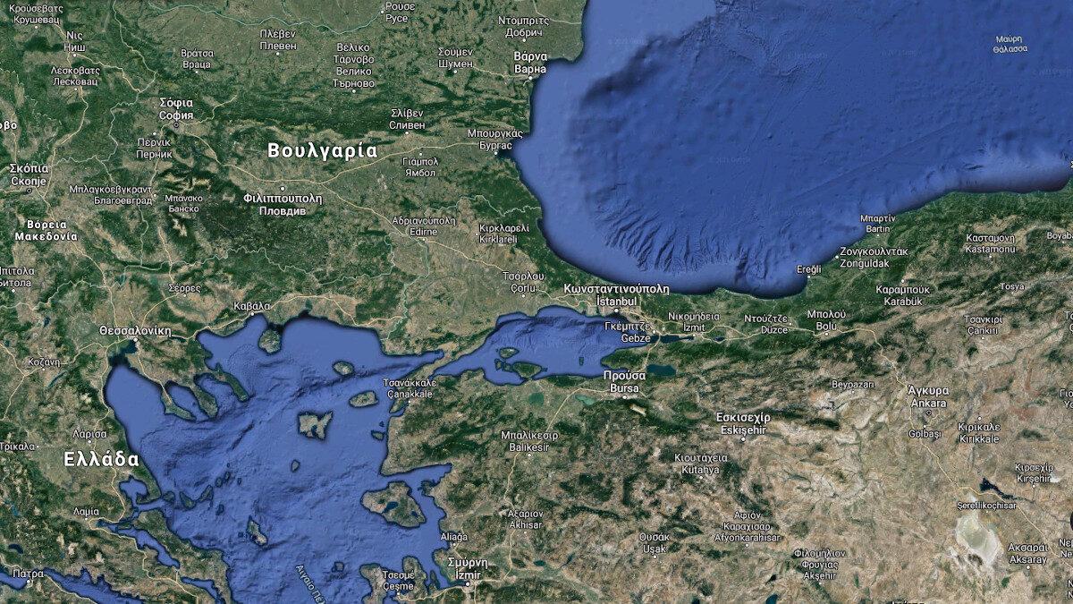 Χάρτης που απεικονίζει την Κωνσταντινούπολη, τη θάλασσα του Μαρμαρά, το Αιγαίο και τη Μαύρη Θάλασσα