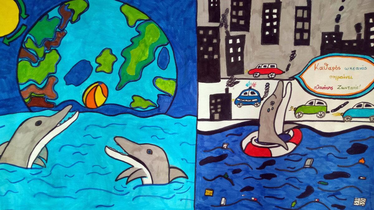 Ζωγραφιά παιδιού δημοτικού σε παλιότερο μαθητικό διαγωνισμό για καθαρές θάλασσες