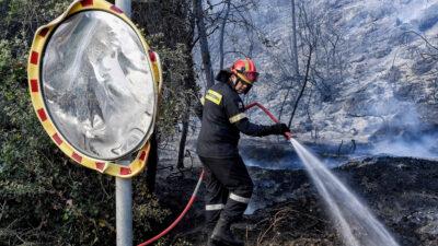 Πυρκαγιά στο Σχινό Κορινθίας - Καταστροφές στον οικισμό Βαμβακιές / Πηγή: Eurokinissi