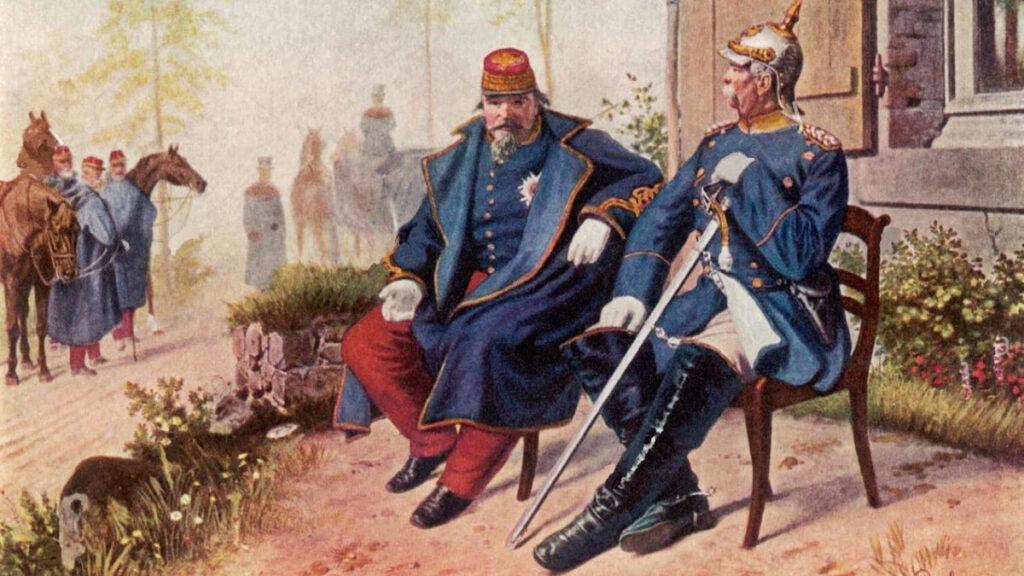 Συνάντηση του Μπίσμαρκ με τον Αυτοκράτορα της Γαλλίας Ναπολέων του ΄Γ μετά την παράδοση του δεύτερου στο Σεντάν της Γαλλίας