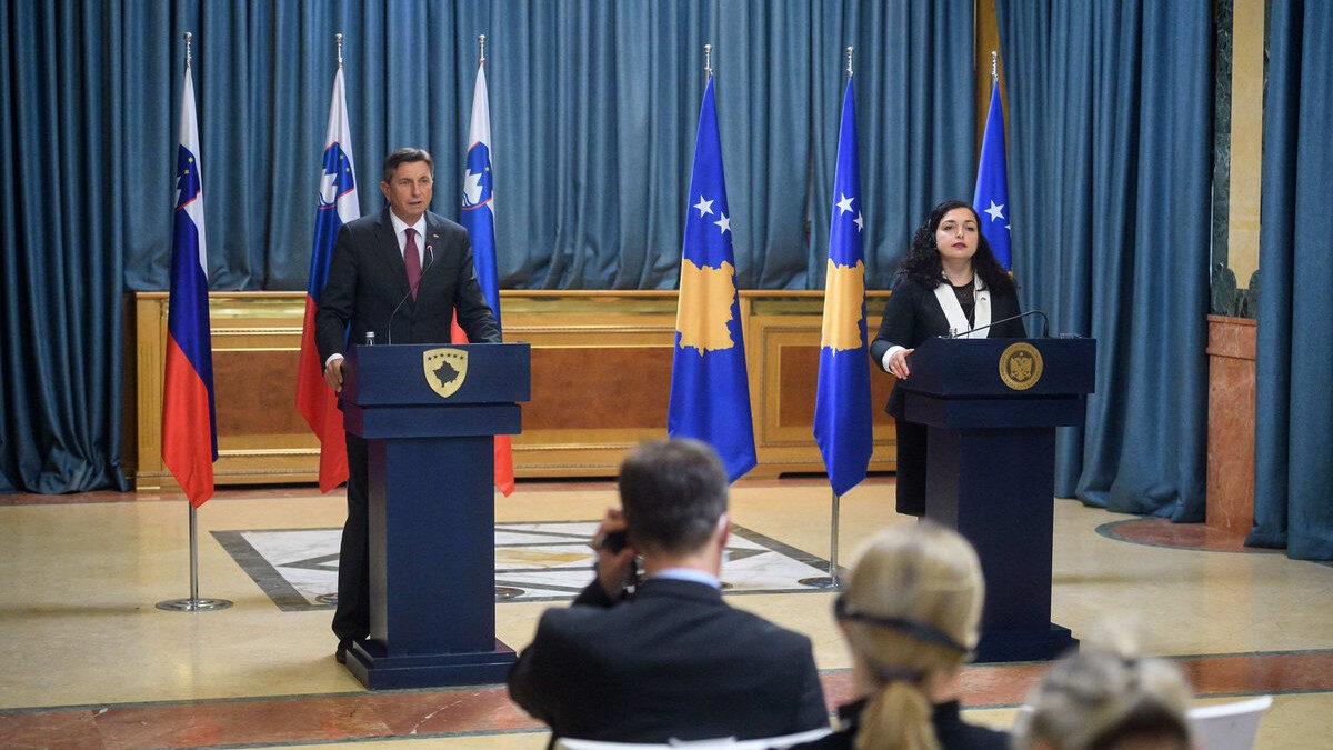 Ο Πρόεδρος της Σλοβενίας Borut Pahor με την πρόεδρο του Κοσσυφοπεδίου Vjosa Osmani Συνόδου Κορυφής Brdo-Brijuni