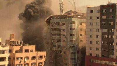 Βομβαρδισμός πολυκατοικιών και κτιρίου γραφείων που στέγαζαν γραφεία των ειδησιογραφικών πρακτορείων Associated Press, Al-Jazeera / Παλαιστίνη, Λωρίδα της Γάζας - 15/5/2021