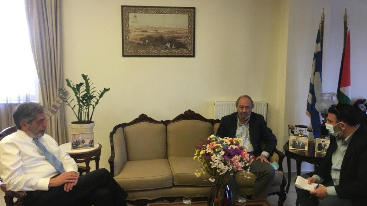 Συνάντηση του Γιώργου Μαρίνου, μέλους του ΠΓ της ΚΕ και βουλευτή του ΚΚΕ, με τον Πρέσβη της Παλαιστίνης Μαρουάν Τουμπάσι