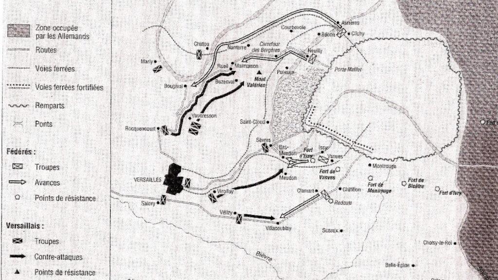 Στρατιωτικός Χάρτης της επιχείρησης της 3η Απρίλη 1870 των «Βερσαλλιών» να καταλάβουν στρατηγικά σημεία έξω από το Παρίσι για να προετοιμάσουν την επίθεση εναντίον της Κομμούνας