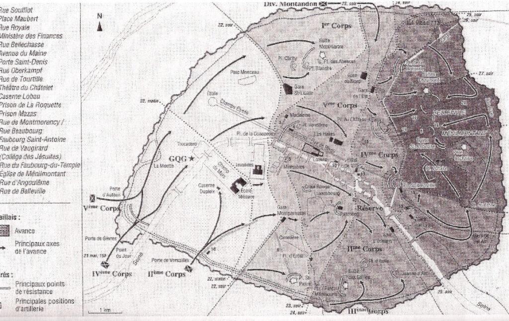 Στρατιωτικός Χάρτης: Η εισβολή και οι κινήσεις των «Βερσαλλιών» στο Παρίσι / 24 Μάη 1871