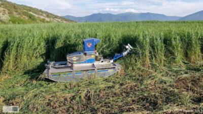 Αμφίβιο όχημα για να κόβει τα καλάμια / Πρέσπες - Περιβάλλον
