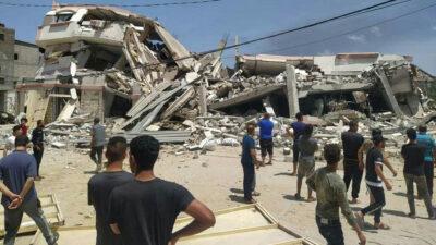 Ερείπια πολυκατοικίας στη Λωρίδα της Γάζας, στην Παλαιστίνη, από τους βομβαρδισμούς του Ισραήλ - Μάης 2021