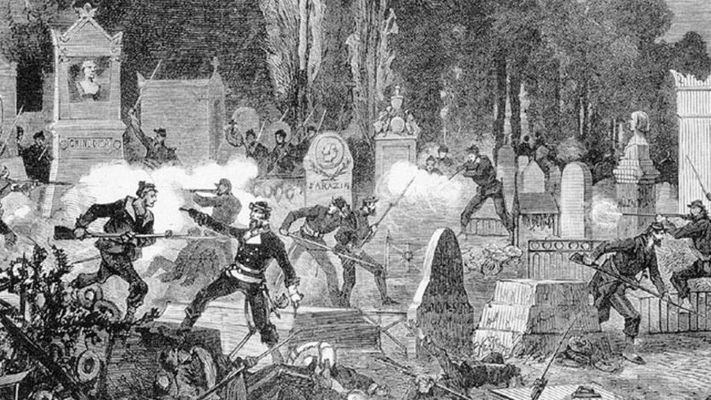 Γκραβούρα εποχής / Η τελευταία μάχη δόθηκε ανάμεσα στους τάφους στο νεκροταφείο Περ Λασέ - Κομμούνα Παρισιού - 1871